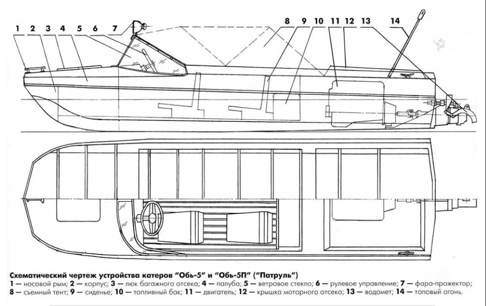 """Схема моторной лодки """"Обь-5"""""""